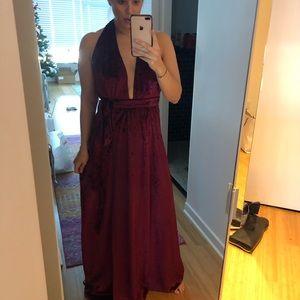 Lulus velvet floor length wrap dress